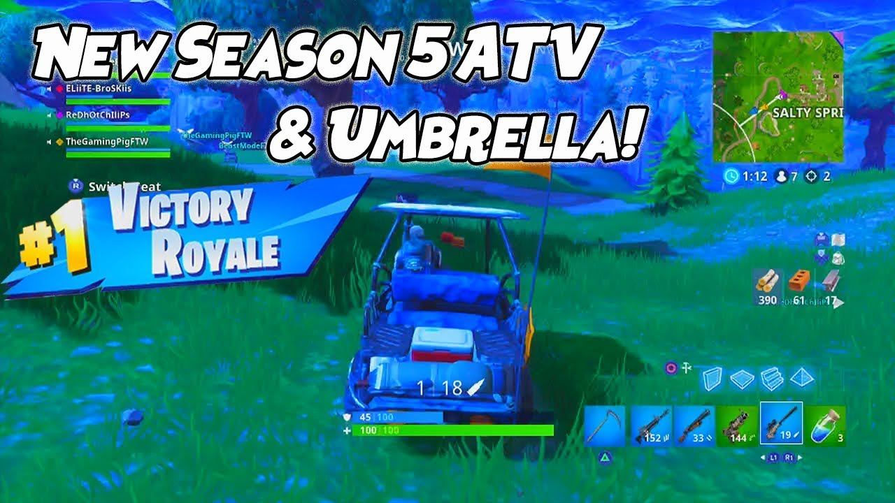 New Atv Umbrella Fortnite Season 5 First Victory Royale Of The
