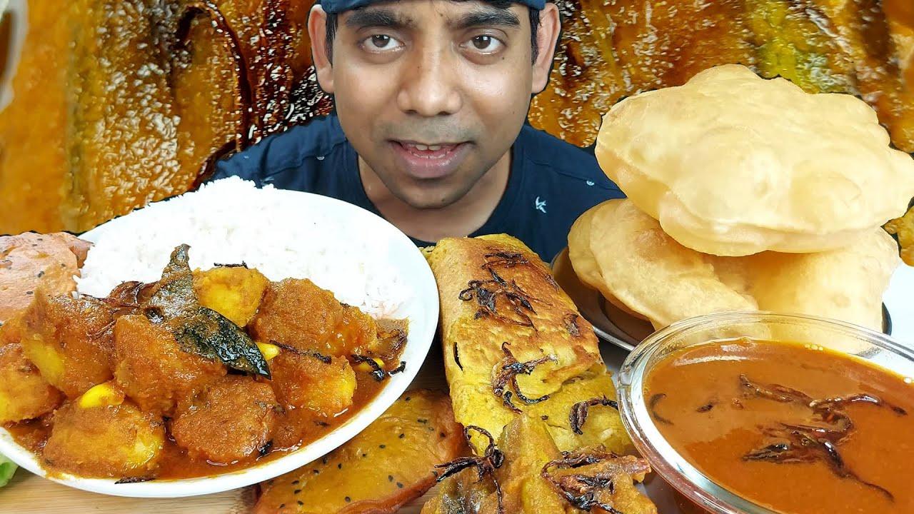 Asmr Dum aloo rice and puri Eating show Mukbang Delicious food