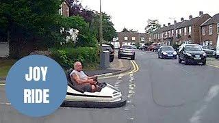 JOY RIDE - Dash cam captures fairground dodgem car driving on the ROAD