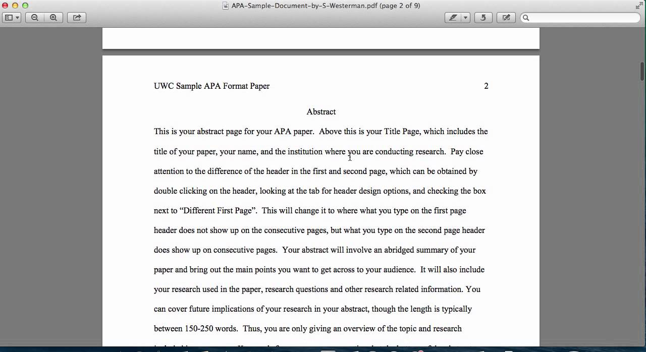 Apa style title page abstract youtube for Apa abstract page template