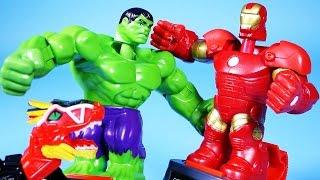 hulk vs ironman 어벤져스 헐크vs아이언맨 과 파워레인저 다이노포스 공룡 배틀 장난감 battle master dino charge dinosaur toys