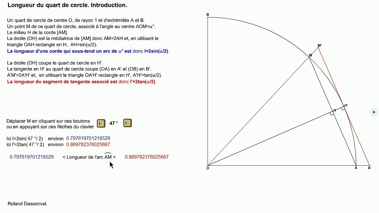 longueur d un quart de cercle