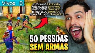 FIZ UMA PARTIDA SEM ARMAS E O FINAL ME SURPREENDEU NO FREE FIRE!!!!