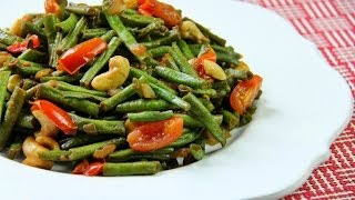 Vegetarian Stir Fry Bodi (yard Beans) With Cashews.