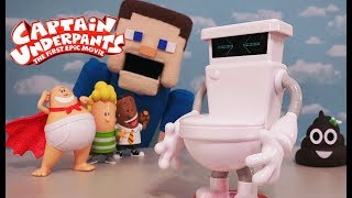 Captain Underpants Movie Toys Talking Toilet Action Figure Unboxing Robot Puppet Steve Poopy pants
