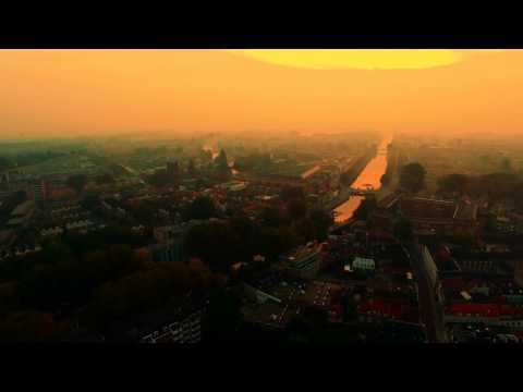 Sunrise over Den Bosch and the Bossche Broek by drone 4K