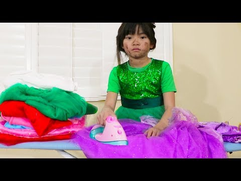 Emma Pretend Play Dress Up Washing & Ironing Clothes with Kids Toys