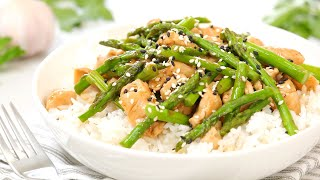 Chicken & Asparagus Stir-Fry Re¢ipe | 20 Minute Meal Prep | Healthy + Quick + Easy