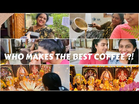 Debate|Who makes the Best Coffee!?||Giving Watch to Pinni||Amma's Evening Pooja routine🙏||More..|| from YouTube · Duration:  16 minutes 45 seconds