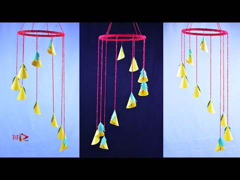 Amazing !!! DIY Wind Chime with Nice Paper Flower | Easy Wall Hanging | Ceiling Hanging Paper Craft