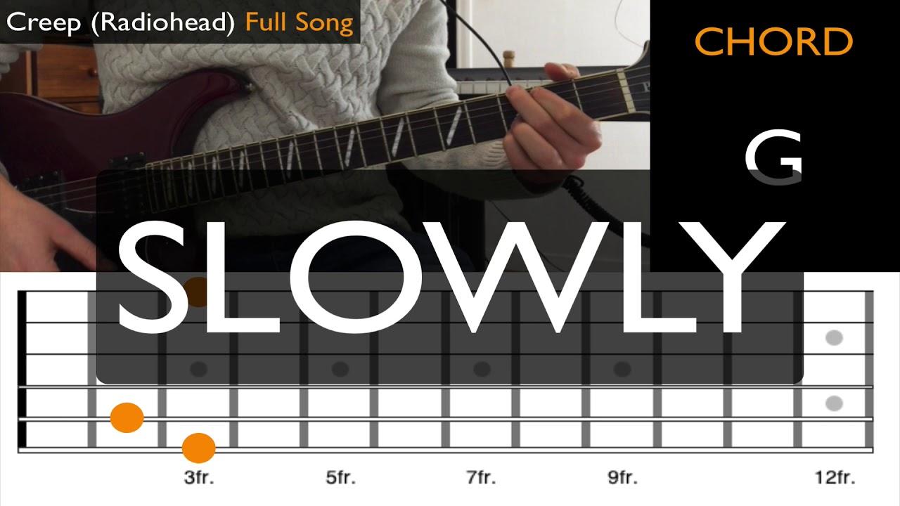 Creep Radiohead Easy Guitar Tutorial Animated Tab Youtube
