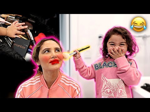 ELLE DOES HER MOMMY'S MAKEUP FOR THE DAY!!! (MAKEUP, HAIR AND NAILS)
