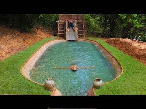 Creative Two Guy Building Mini Swimming Pool On Muddy House And Build Big Swimming Pool Near House