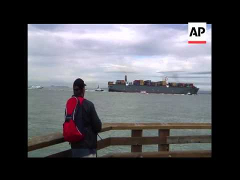 A cargo ship that maritime officials are calling the largest ever to enter San Francisco Bay passed