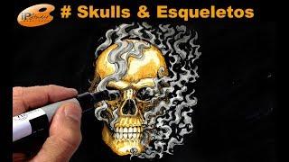 #Skulls - Caveira Dourada com Copic - Curso de Desenho IPStudio