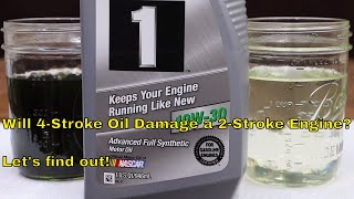 Will 4-stroke oil damage a 2-stroke engine?  Let's find out!