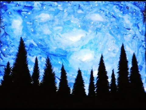 How To Paint Night Galaxy Sky With Trees Christmas Tree