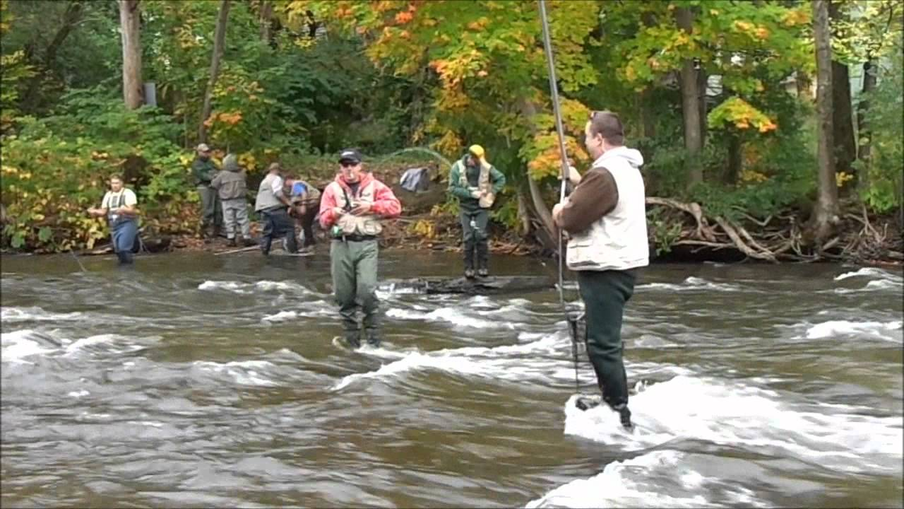 Fly fishing salmon river pulaski ny youtube for Salmon river ny fishing