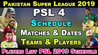 Pakistan Super League 2019 Schedule, Date,Teams,Venues & Matches | ...