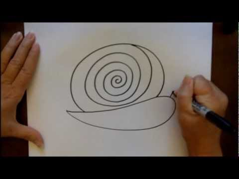 How to draw a snail step by step cartoon easy art lesson for Simple paintings to draw