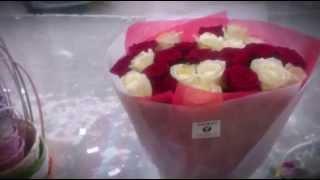 Великолепный букет из 25 красных и белых роз! | Magnificent bouquet of 25 red and white roses!