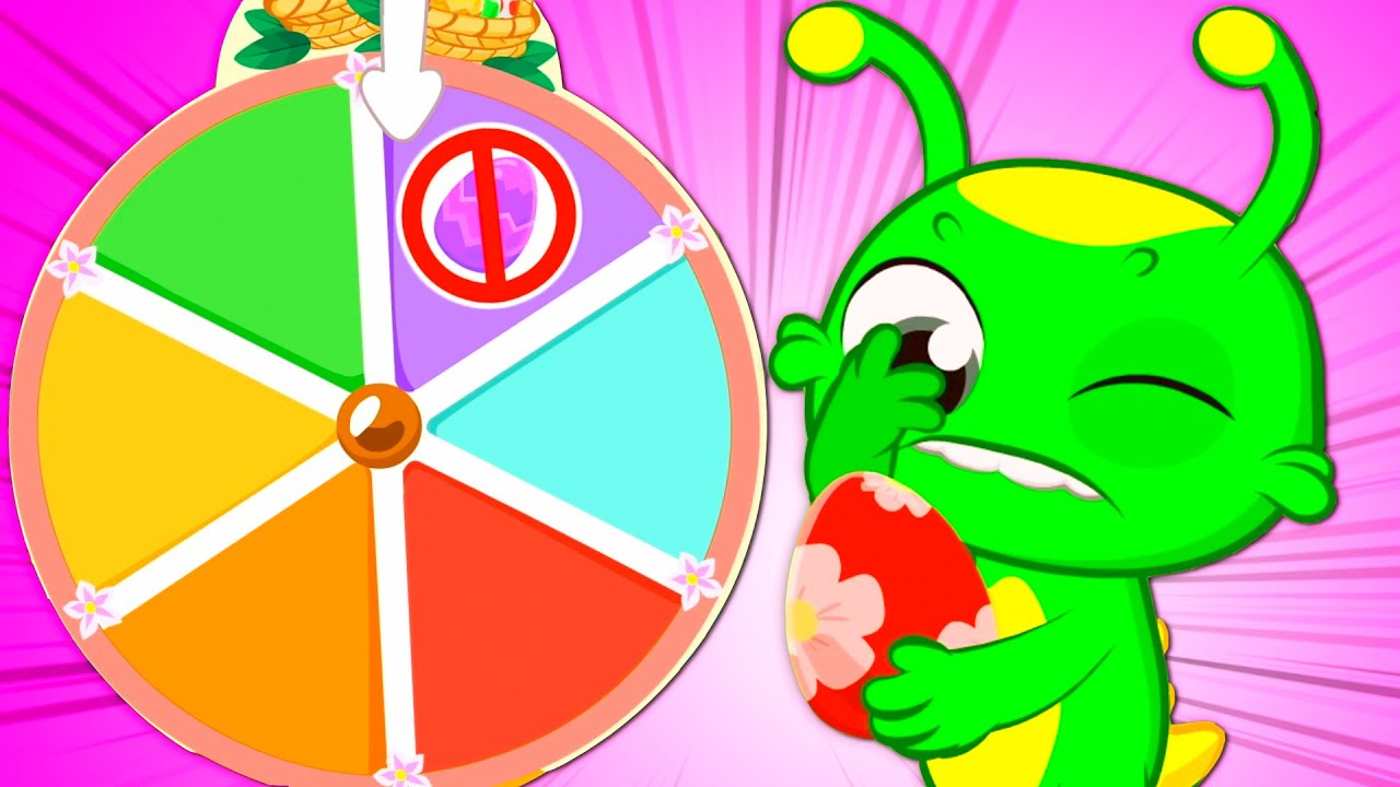 Groovy The Martian & Phoebe play with a mystery wheel to get surprise eggs at Easter