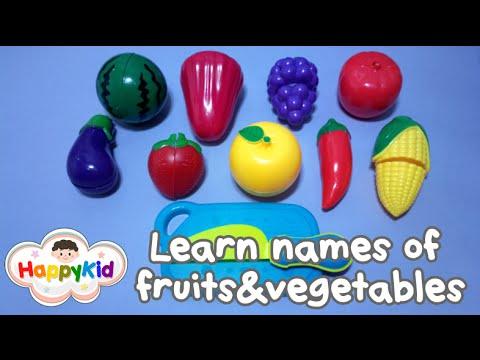เรียนรู้ชื่อผักผลไม้ | ของเล่นหั่นผัก | คำศัพท์ผักผลไม้ | Learn names of fruits and vegetables