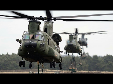 RNLAF sling load exercise with 2x AS532 Cougar and 3x CH-47 Chinook