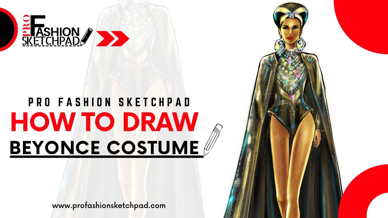 How to Draw Beyonce Stage Costume Design Sketch with PRO FASHION SKETCHPAD Book Series