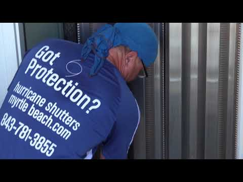 Hurricane shutters Door installation and removal Midatlantic Storm Protection Myrtle Beach Sc