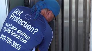 Hurricane shutters Door installation and removal Midatlantic Storm Protection Myrtle Beach Sc