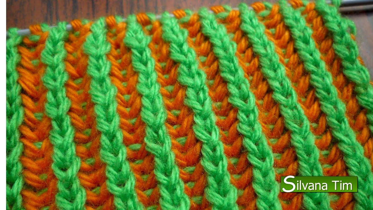 Punto elastico ingles 2 colores reversible tejido con dos - Puntos de dos colores a dos agujas ...