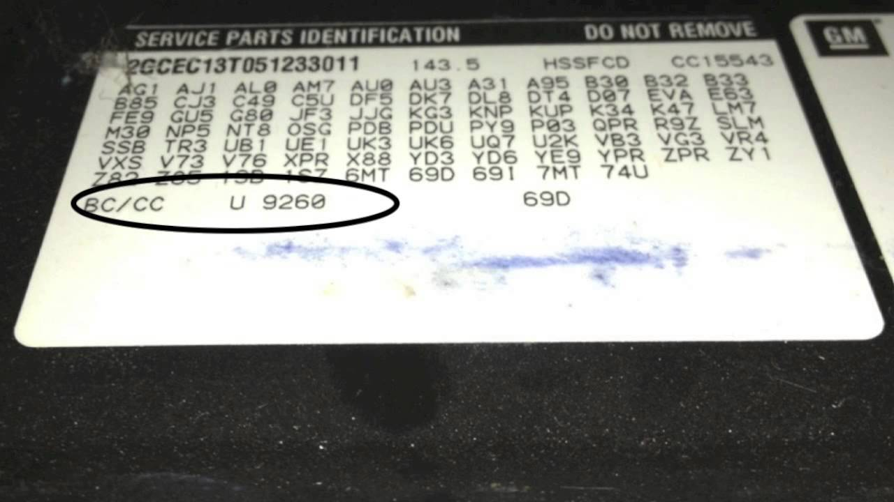 Paint Code - How To Find The Color Code on a GM 2005 ...