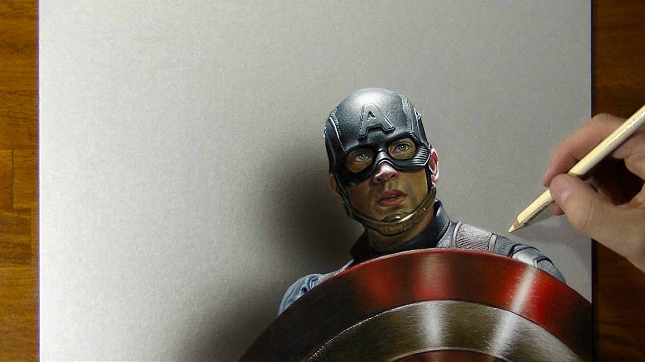 Captain America Drawing - 3D Art