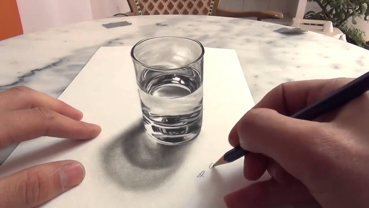 un artiste dessine un verre d 39 eau en 3d et r alise une parfait youtube. Black Bedroom Furniture Sets. Home Design Ideas