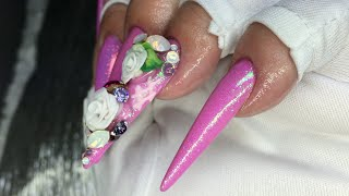 How To Stiletto Shaped Mermaid Acrylic Nails//NOQ gels