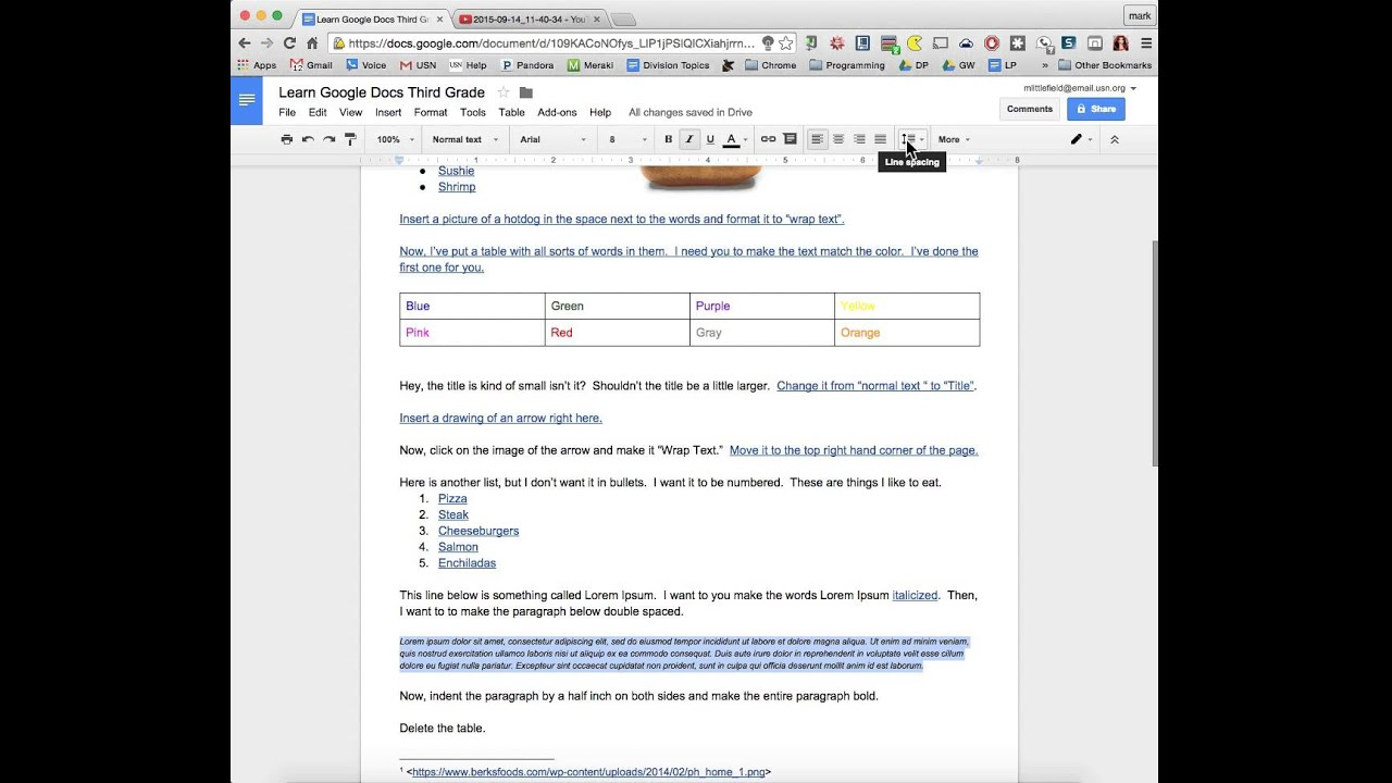 how to get double spacing on google docs