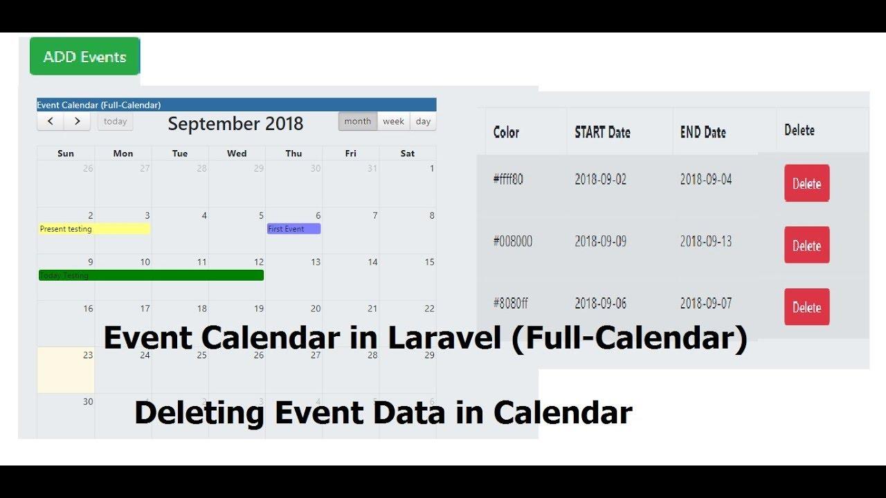 CRUD-Event Calender: Delete Event in Laravel (Full-Calender) - Step 5/5