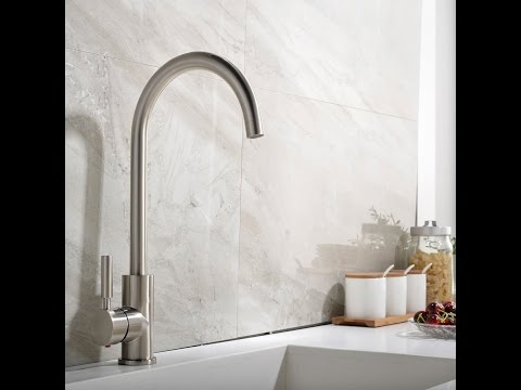 UFAUCET Contemporary High-arch Gooseneck Stainless Steel Water Kitchen Sink Faucet
