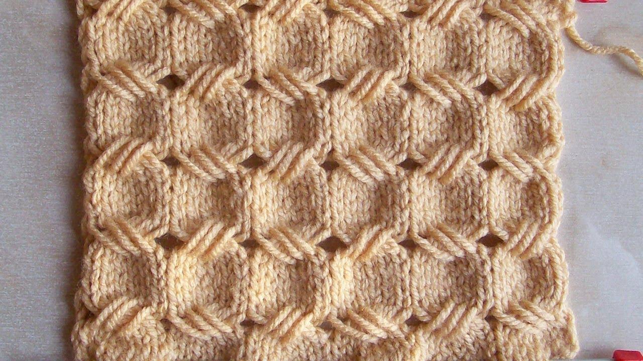 ажурный узор из вытянутых петель вязание спицами видеоурок 257 Youtube