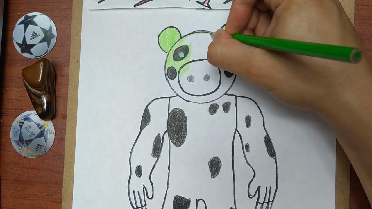 Como Dibujar Y Pintar A Dinopiggy De Roblox How To Draw And