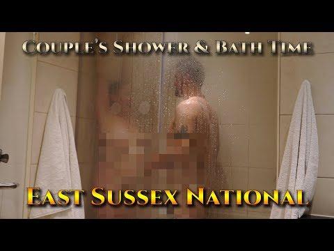 Naked couples shower together