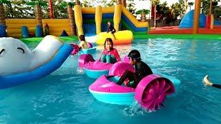 Istana Balon Kolam Renang, Hutan Air - Asiknya Qyla & Fais Bermain Air | Water Slide WaterPark Gofun