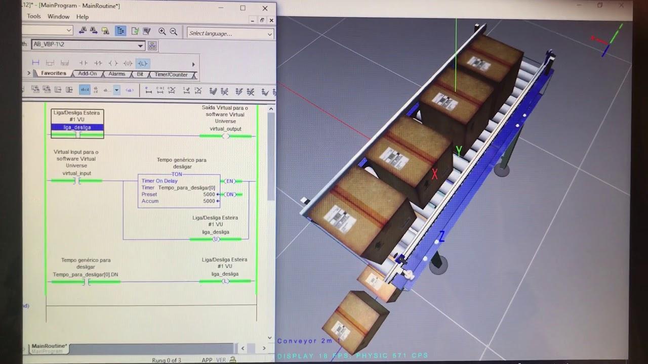 Virtual Universe Pro com o SoftLogix 5800 V23 Rockwell Automation