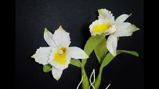 How To Make Cattleya Orchid Flower From Crepe Paper - Craft Tutorial