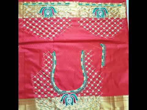 Latest Check pattern aari embroidery work.