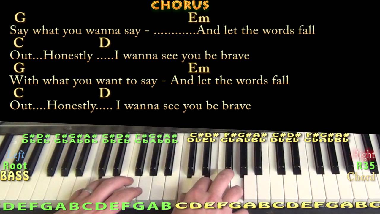 Brave SARA BAREILLES Piano Cover Lesson in G with Chords/Lyrics