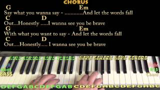 Brave (SARA BAREILLES) Piano Cover Lesson in G with Chords/Lyrics