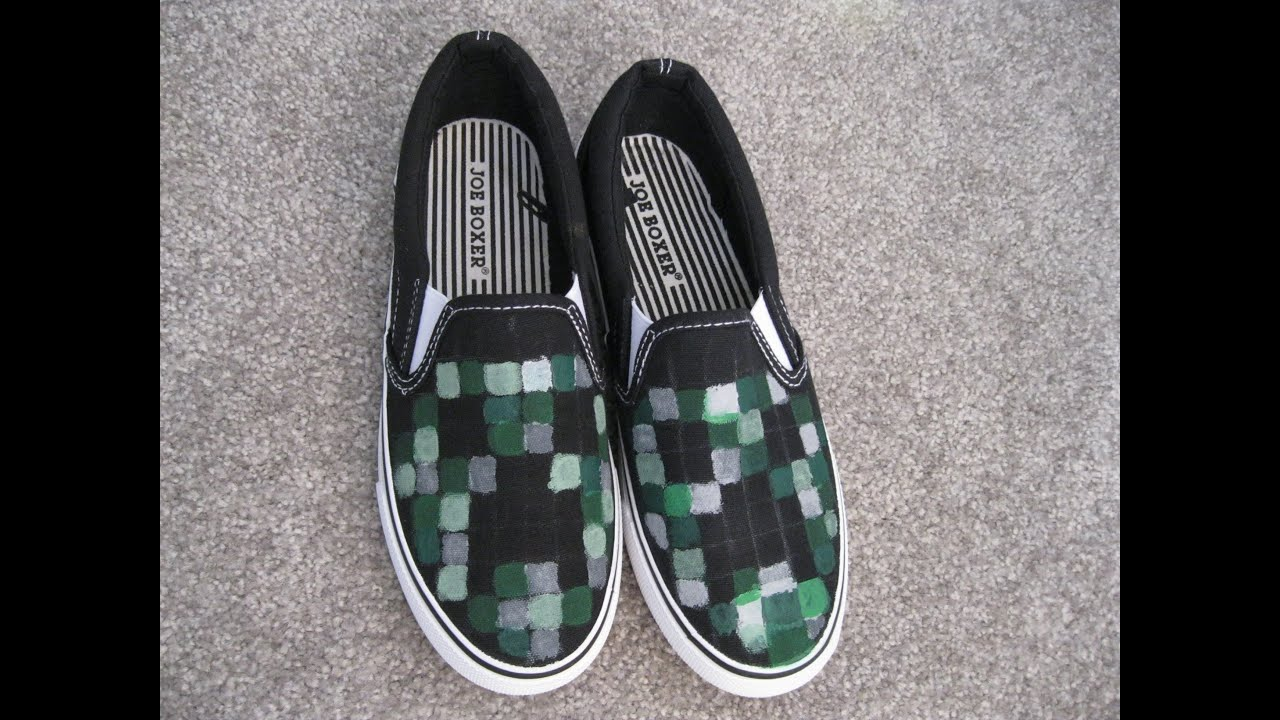 9d5a92c5de DIY Project MINECRAFT Creeper Painted Shoes How to Fun Easy Kids Craft for  School
