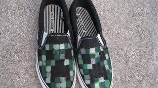 DIY Project MINECRAFT Creeper Painted Shoes How to Fun Easy Kids Craft for School